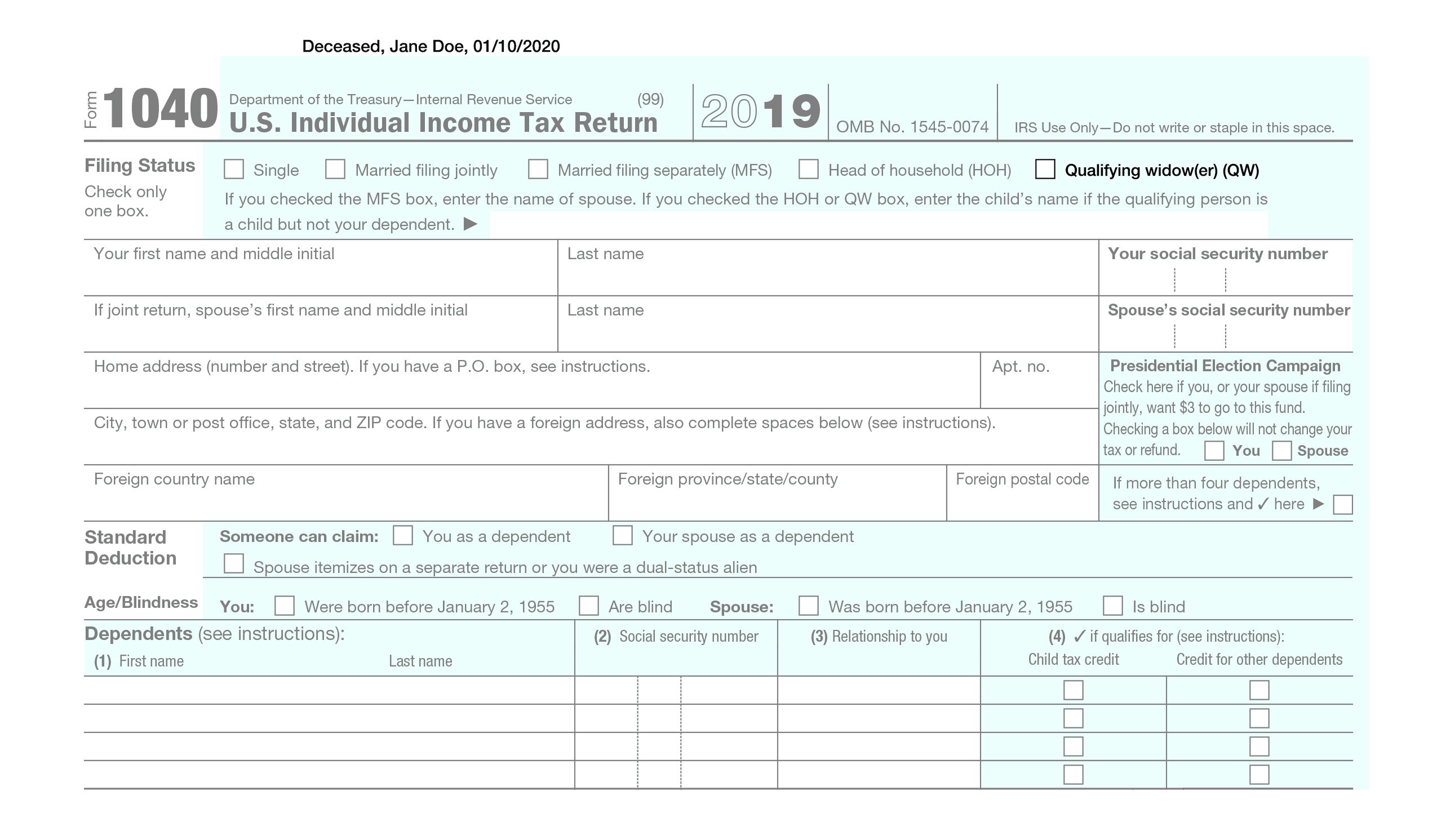 "Example of Form 1040 with ""deceased"" at the top"
