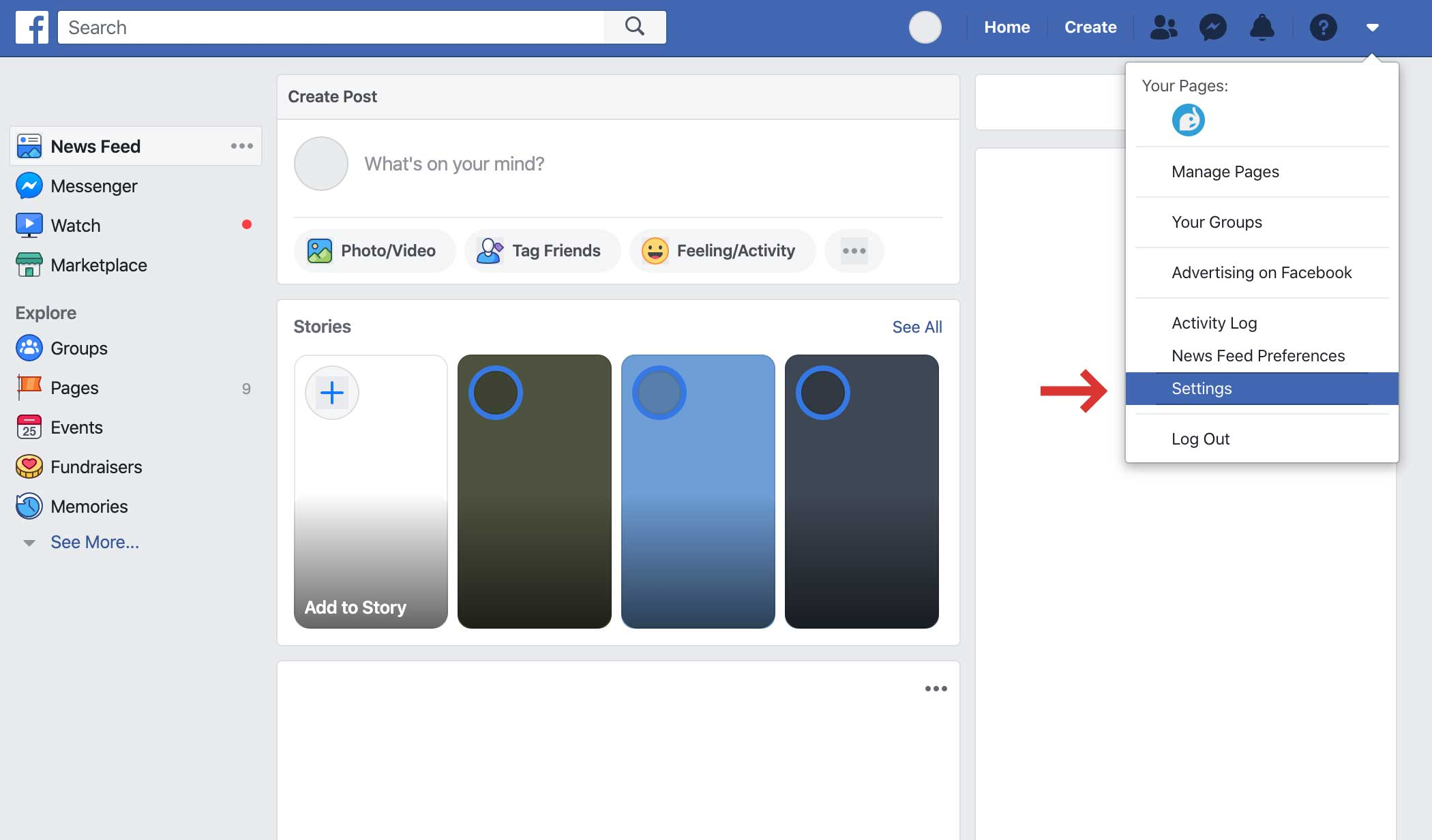 Facebook Settings is in the menu on the top right corner